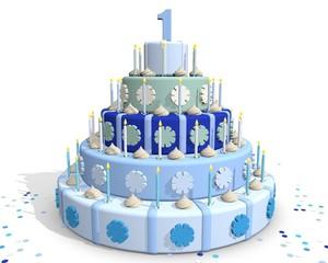 Feestelijk taart voor één jarige jongen