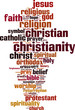 Постер, плакат: Christianity word cloud concept Vector illustration