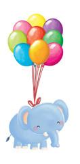 elefante volando con globos
