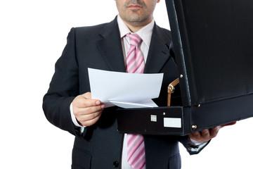 Uomo d'affari con la valigette
