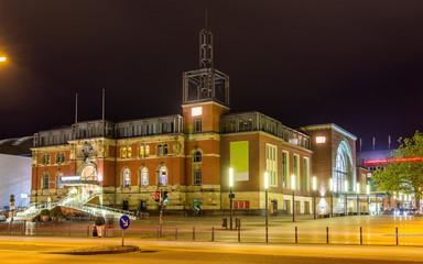 Night view of Kiel railway station - Germany