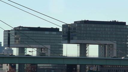 Business centers city car traffic, busy megalopolis life bridge