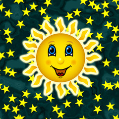Happy sun on star sky