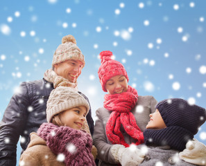 happy family in winter clothes outdoors