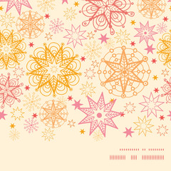 Vector warm stars horizontal frame seamless pattern background