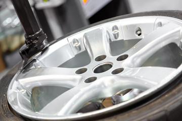 Wheel balancing close up