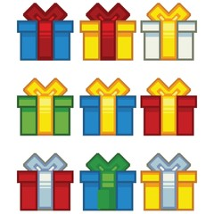 christmas simple pixel art gifts set