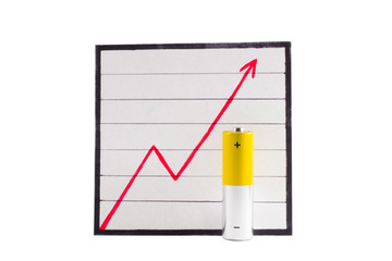 Батарейка на фоне графика роста
