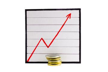Монеты на фоне графика роста