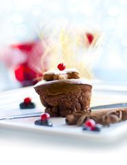 Christmas molten lava cake dessert or dark chocolate souffle