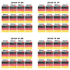 Germany calendar 2016,2017,2018,2019 Year.