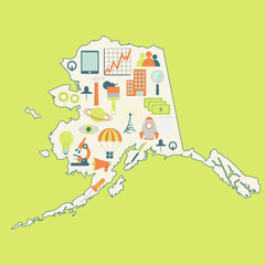 Map of Alaska with technology icons