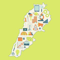 Map of Lebanon with technology icons