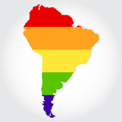 Rainbow flag in contour of South America