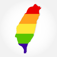 Rainbow flag in contour of Taiwan