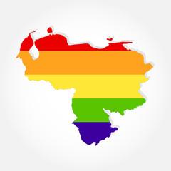 Rainbow flag in contour of Venezuela