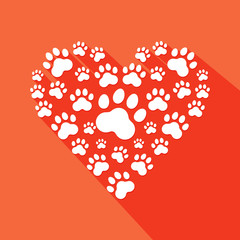 Flat heart with pet paws silhouette . Vector