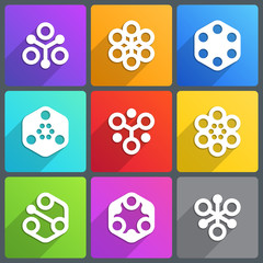 Flat abstract icon with shadow. Vector