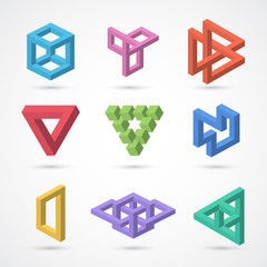 Colorful impossible shapes. Vector elements