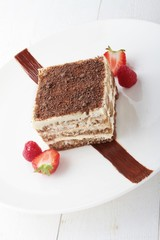 tiramisu plated dessert pudding