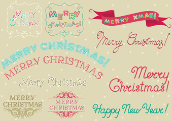 "Set of inscription ""Merry christmas! "" at retro style"