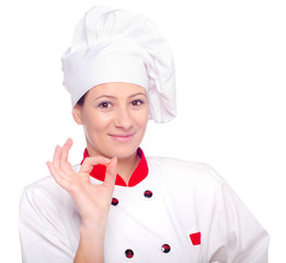 Female chef satisfied with her meal
