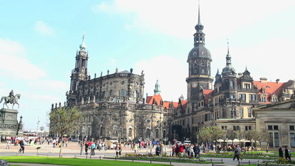 Dresden city square timelapse, daytime, tourist Cathedral castle