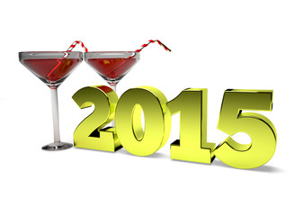 concept ofNew Year's toast 2015