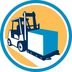 Forklift Truck Box Circle Retro
