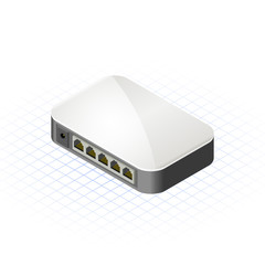 Isometric Mini Hub with Five Ports Vector Illustration