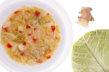 Cabbage & ginger soup