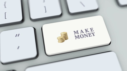 Make money button on computer keyboard. Key is pressed