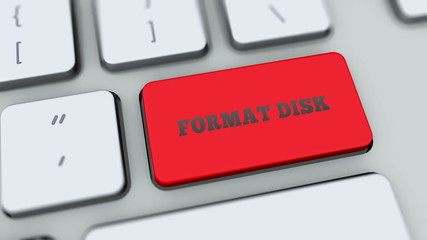 Format Disk button on computer keyboard. Key is pressed