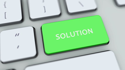 Solution button on computer keyboard. Key is pressed