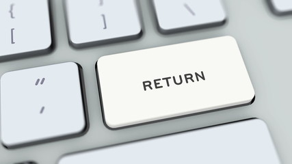 Return button on computer keyboard. Key is pressed