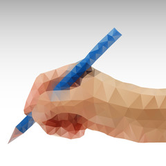 Hand writing Abstract polygonal