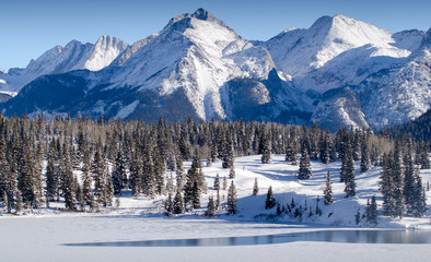 snow mountain view landscape, colorado winter
