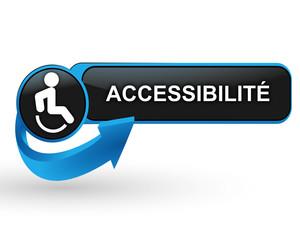 accessibilité personnes handicapées sur bouton web design bleu