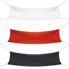 empty textile banners set