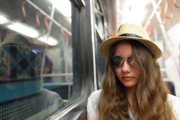 Person in subway train
