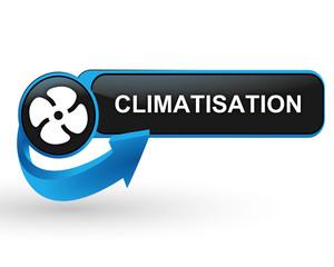 climatisation sur bouton web design bleu