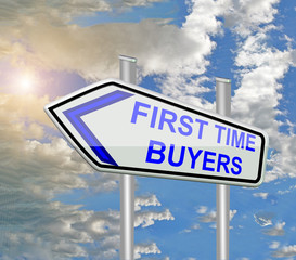 first time buyers blue road sign sky  clouds sun
