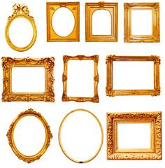 Set of golden vintage frame isolated
