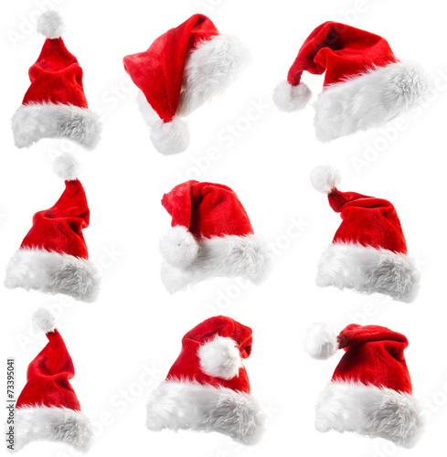 Set of red Santa Claus hats - 73395041