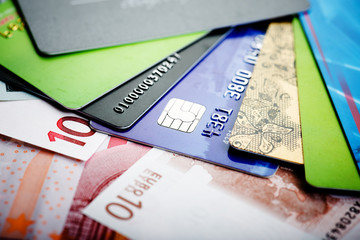 Euro bills and credit card background