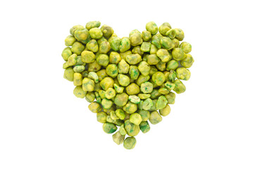 Love green ,heart shape from dry green pea isolated on white bac