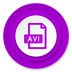 avi file icon, violet button