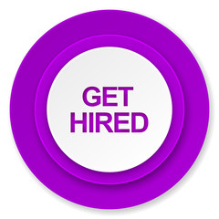 get hired icon, violet button