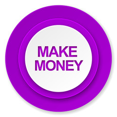 make money icon, violet button