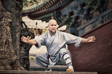 Shaolin warriors monk in traditional kimono